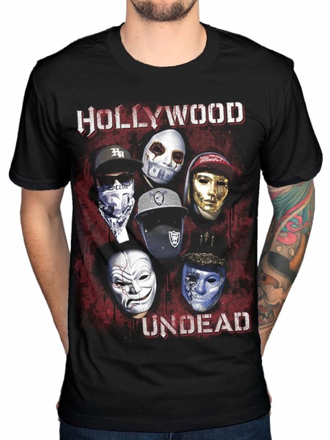 Cool Shirt Designs Short Sleeve Premium O Neck Mens Hollywood Undead Mask Black Cotton