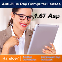 Handoer 1.67 Anti-Blue Ray Protection Optical Single Vision Lens for Digital Device Anti-UV Prescription Computer Lenses,2Pcs