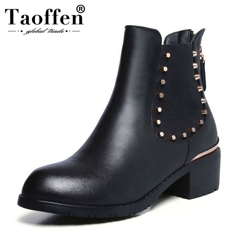 Taoffen Fashion Women Real Leather Flats Boots Round Toe Rivet Zipper Elastic Ankle Boots Motorcycle Shoes Women Size 33-42Taoffen Fashion Women Real Leather Flats Boots Round Toe Rivet Zipper Elastic Ankle Boots Motorcycle Shoes Women Size 33-42
