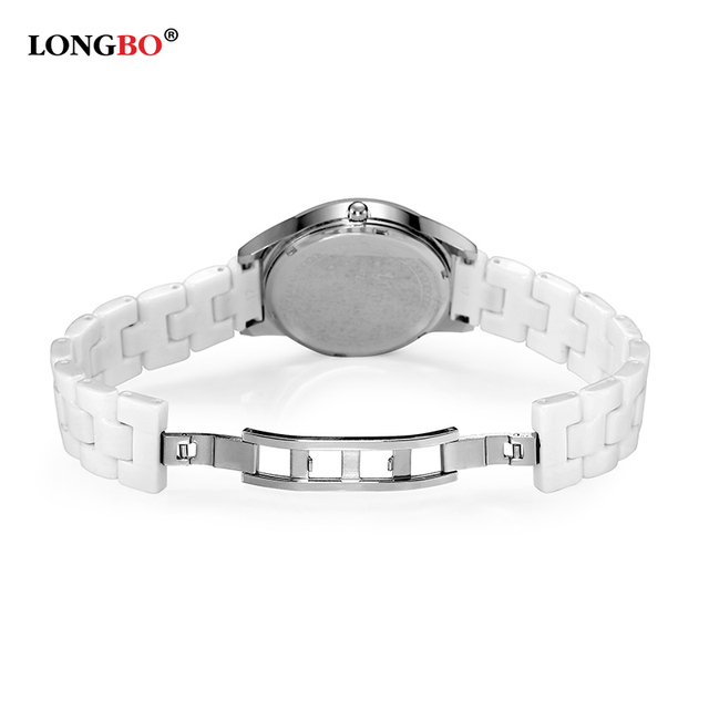 LONGBO Lover's Ceramic Rhineston Quartz Watches Women Mens Watches Top Brand Luxury Casual Watch Relogio Masculino Feminino