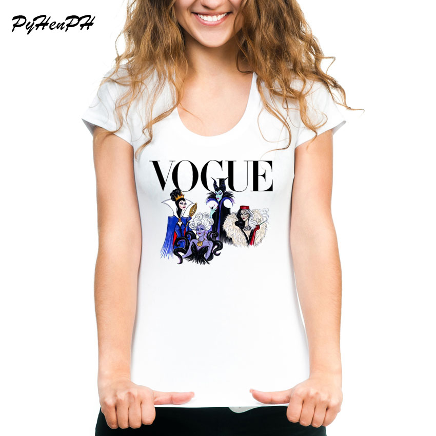 Vogue Evil Queen   T     shirt   Women Summer White   T  -  Shirt   Women Tops Vintage Halloween Villain Tee   Shirt   Femme Camiseta Mujer 2018