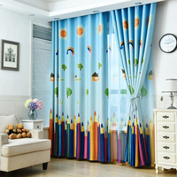 New Blackout Curtain Fabric Pencil Pattern Boys And Girls Kids Room Curtains Bedroom Curtains