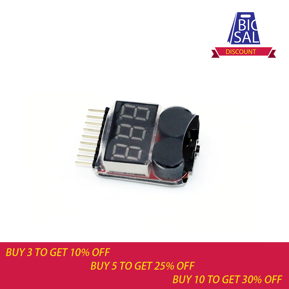 1-8S 0.5-36V Lion Battery Tester Medidor de bajo voltaje voltímetro Zumbador Alarma 2 en 1 Indicador Comprobador
