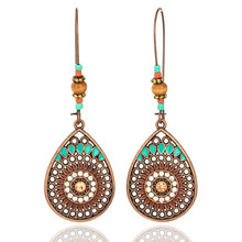 Купить с кэшбэком Bohemian Vintage India Ethnic Water Drip Beads Dangle Drop Earrings for Women Colorful Female 2019 Wedding Party Jewelry Gifts
