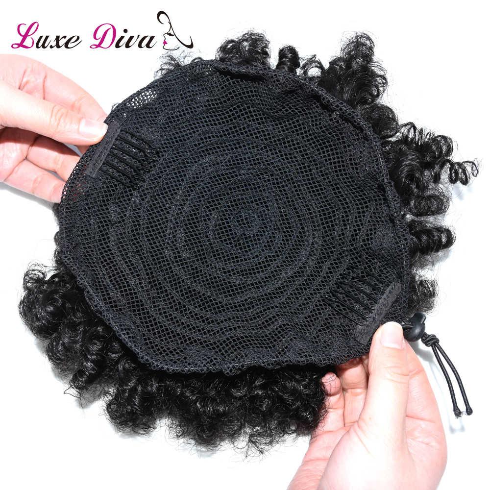 LD Afro rizado Cola de Caballo para mujeres Natural negro Remy cabello 1 pieza Clip en cordón peruano 100% cabello humano productos