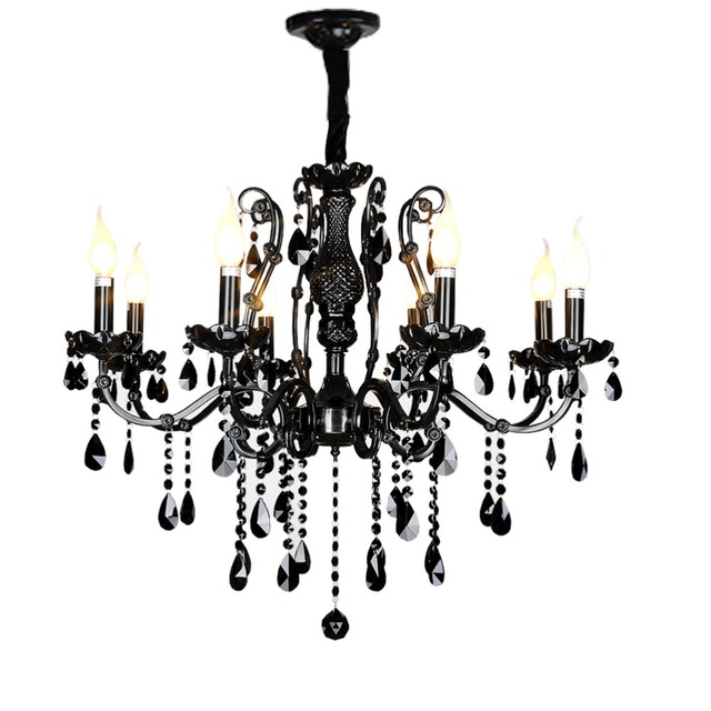 Accueil lampe antique noir cristal lustre salle à manger lustre noir cristal moderne bougie lustre éclairage