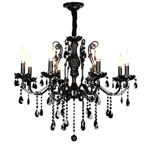 Home Lamp Antique Black Crystal Chandelier Dining Room Modern Candle Lighting For