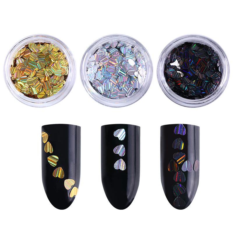 3 Boxes Holographic Nail Sequins Gold Silver Black Heart
