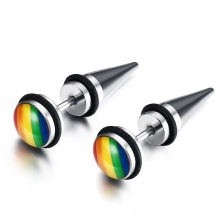1Pair 7.8mm Titanium Steel Rainbow Jewelry Personality Women Earrings Stainless Ear