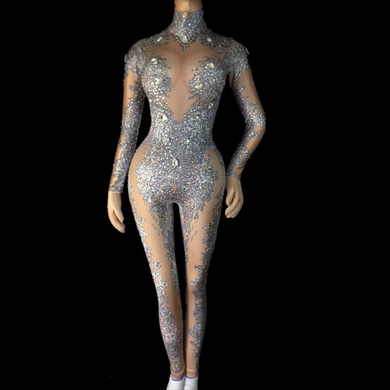 Women Sexy Gold Rhinestones Jumpsuit Performance Outfit Female Singer Leggings Nude Black Big Crystals Costume Dance Bodysuit