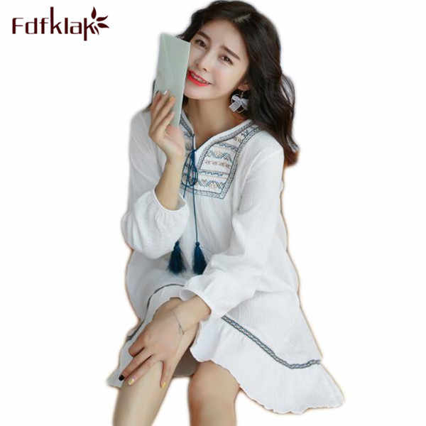 Fdfklak Women's Nightgown 2017 Spring Summer Cotton Princess Nightgown Nighty Sexy Sleeping Clothes Night Wear White/Red Q472