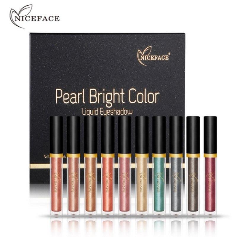 Niceface 17 видов цветов Перламутровые ЖИДКИЕ ТЕНИ Сияющие мерцающие тени блестящие тени для век Карандаш водостойкая сияющая тени для глаз «ме