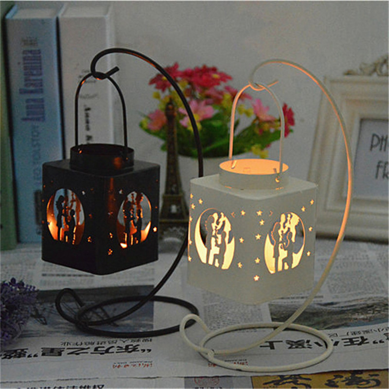 Fashion Creative AIron Square Hollow Candle Candlestick Candle Holder Hang on The Tree or Wall Home Wedding Decoration 4
