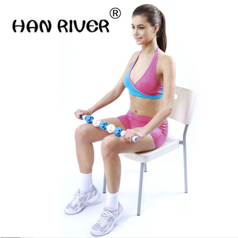 HANRIVER High quality Portable massager muscles relax massage stick fascia rod roller gear slow deep muscle massage shaft excellent quality 2 rollers relax finger joints hand massager fingers massage tool random color