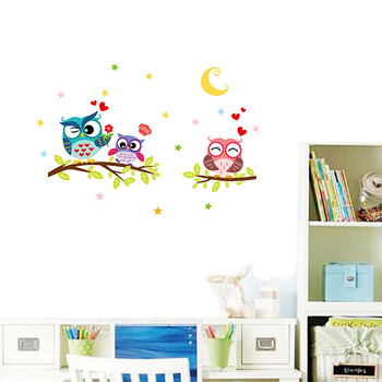 Cartoon Owl On Branches Wall Sticker For Kids Baby Room Bedroom Background Home Decoration Mural Art Decals Cute Animal Stickers