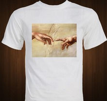 Michaelangelo Creation of Adam Sistine Chapel Renaissance Art T-shirt2018 Fashion slim T-shirts T Shirt Mens Tee Shirts