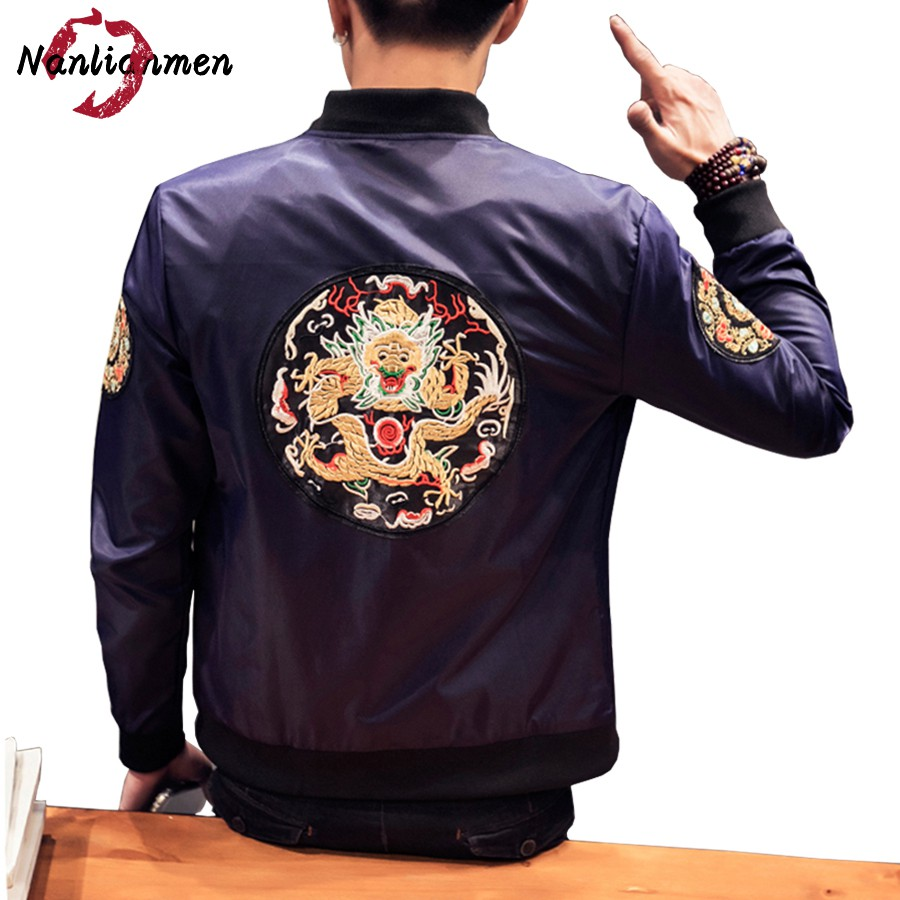 Rib sleeve standard style dragon jackets men veste