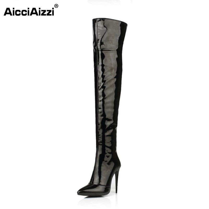 Plus Size 33-43 Botines Female Winter Boots Women Shoes Over Knee High Thigh Boots High Heel Suede Boots Botas Mujer Femininas