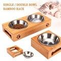 Двойные одиночные миски для собак для питомцев  щенков  из нержавеющей стали  Бамбуковая стойка для еды  миска для воды  кормушка для домашни...