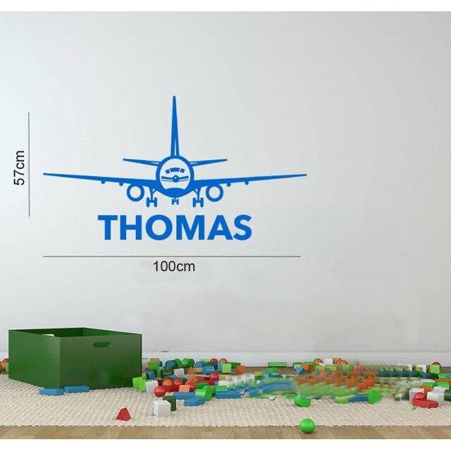Aeroplane Custom Made Personalized Name Vinyl Wall Sticker Kids - Custom made vinyl wall decals