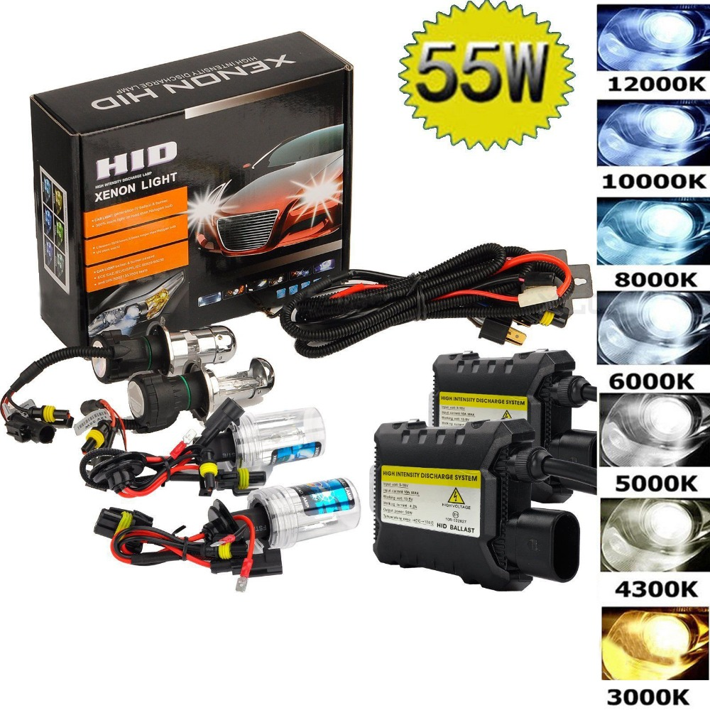 55 Вт Hid комплект H1 H3 H4 H8 H7 H11 9005 9006 880/1 H13 Автомобильный источник Светильник 3000K 4300k 6000k 8000k 12000K передние фары