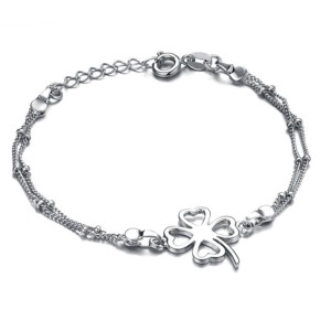 Ti four leaf grass anklets women s pure silver platinum fashion accessories graduation gift