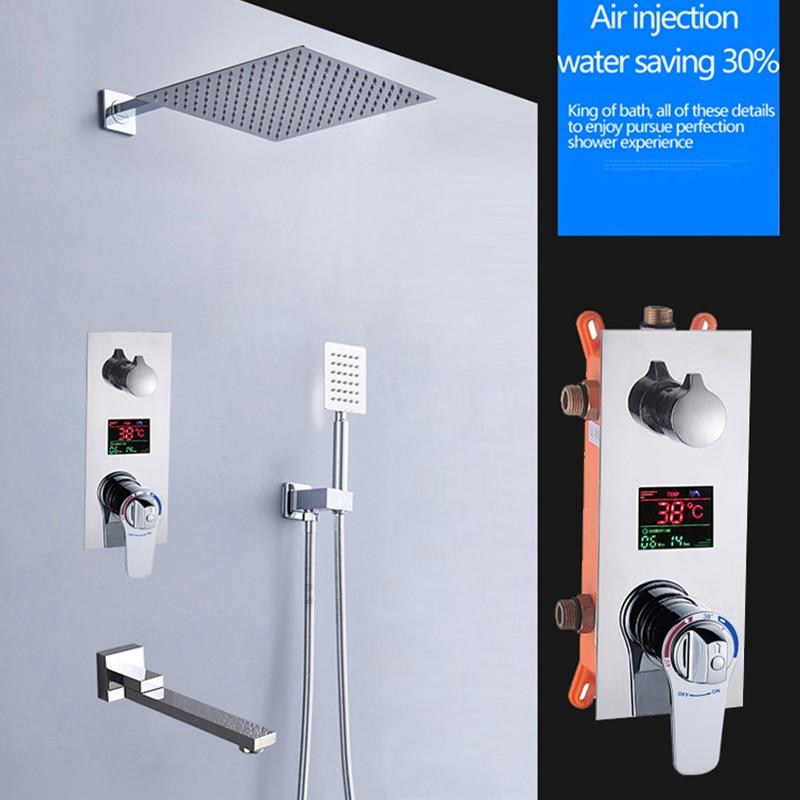 BAKALA Square Chrome Rain Shower Head Faucet Hand Shower Sprayer Mixer Bathroom Shower Faucet Set Thermostatic