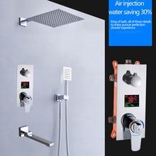 BAKALA Kare Krom yağmur biçimli duş Başlığı Musluk duş başlığı Püskürtücü Mikser Banyo Duş Bataryası Seti Termostatik Duş Bataryası