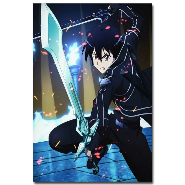NICOLESHENTING Sword Art Online 2 Kirito Asuna Silk poster 12x18 24x36inch Anime Wall Pictures For Living Room Decor SAO 009