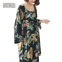 Pyjama Set Woman Female Flower Black Thin Full Elegant Robe Camisole Pants Three Piece Suit Home
