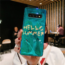 Cute emerald green summer glitter smooth blue ray soft silicone case for samsung galaxy s10 s9 s8 plus s7 edge note 8 9 cover