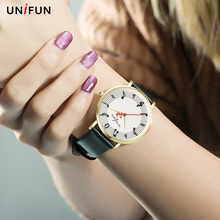 UNIFUN New Women Musical Notation Creative Leather Strap Fashion Casual Dress Quartz Simple Style Relogios Feminino Montre Watch(China)