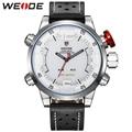 WEIDE Men Sports Watches White Face 3ATM Water Resistant Analog LED Digital Display Genuine Leather Watches Erkek Kol Saati