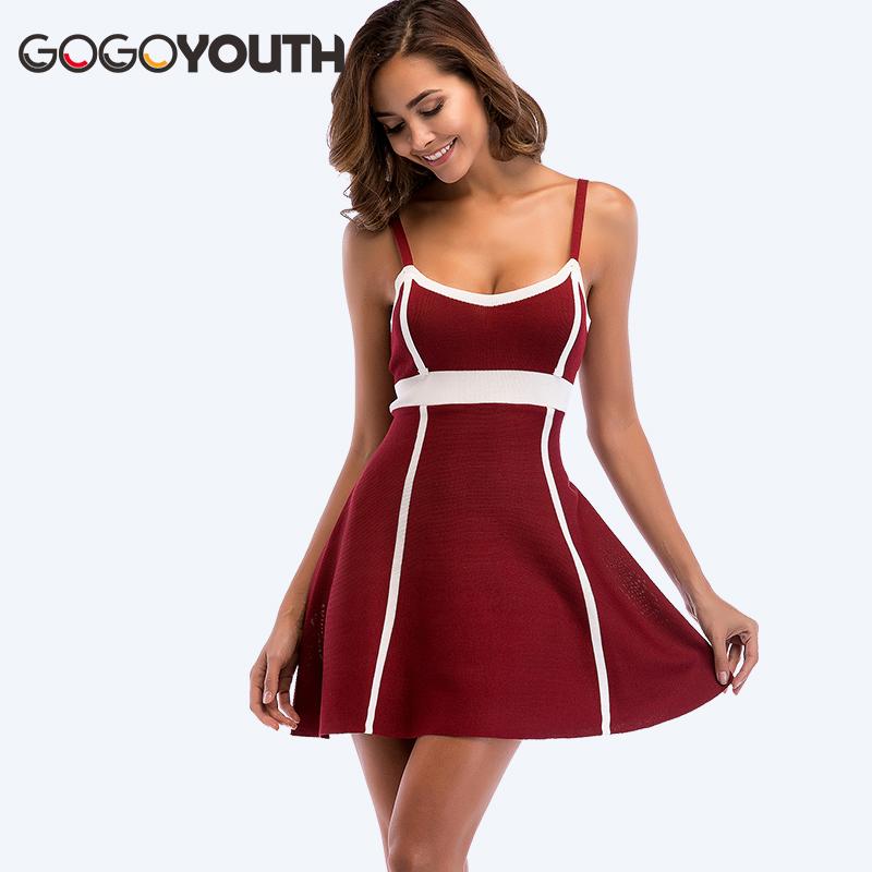Gogoyouth Knitted Summer Dress Women 2018 Vintage Red Strap Tunic Beach Sexy Party Club Dress Mini Sundress For Women Robe Femme canis sexy women sexy sleeveless party evening cocktail summer beach short mini dress