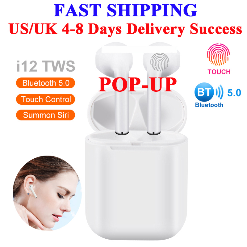 Fu&y Bill High Quality I12 TWS 1:1 Headset Wireless Bluetooth 5.0 Super Bass Earphones Earbuds Pk I9S I11 for IPhone Android(China)