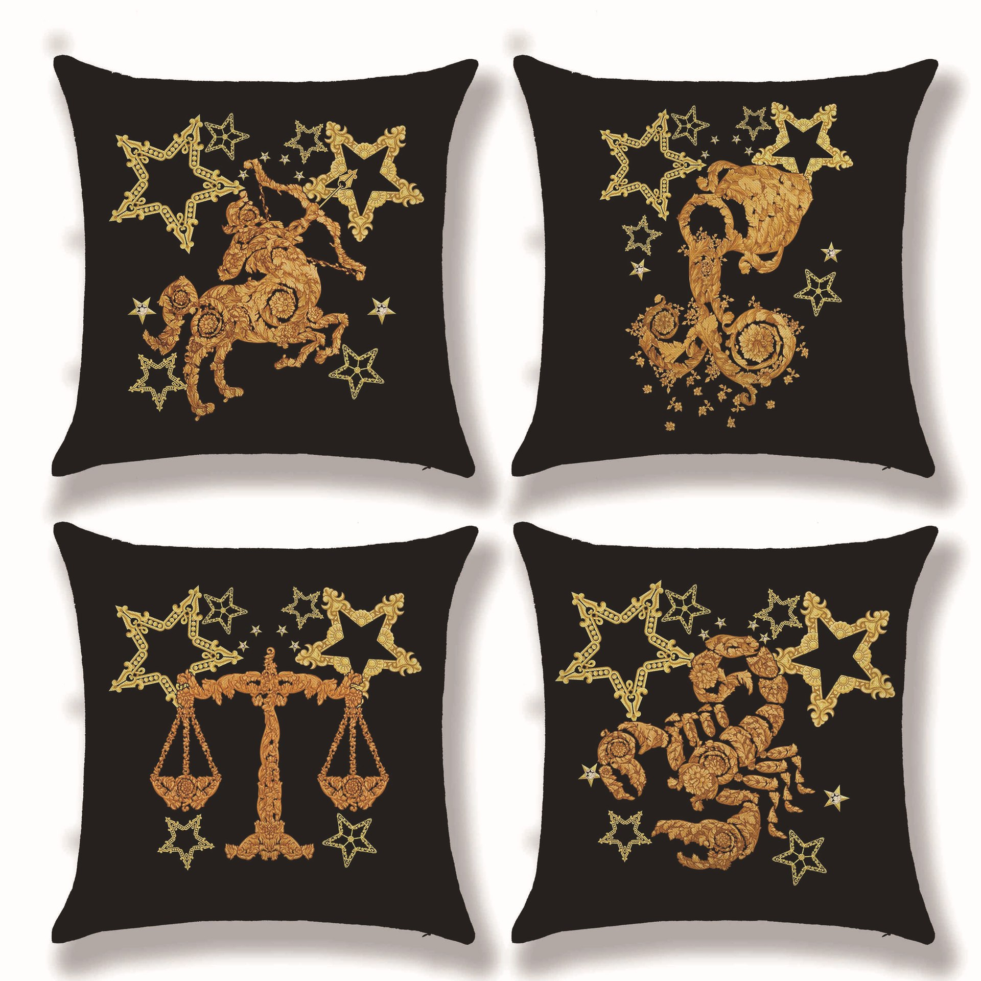 Practical Mythical Twelve Constellations Cushion Cover European Classical Household Style Cotton Linen Decoration Sofa Pillow Case 45x45cm Making Things Convenient For The People Table & Sofa Linens Cushion Cover