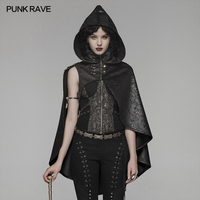 PUNK RAVE Women's Goth Faux Leather Lacing Witch Cloak with Hood Christmas Halloween Steam Punk Short Cloak Womens Cape