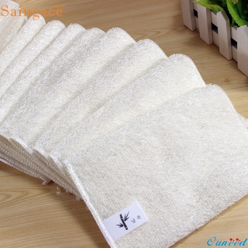 Saingace 5PCs Gifts High Efficient Anti-grease Dish Cloth Bamboo Fiber Washing Towel Magic Kitchen Cleaning Wiping dropship(China)