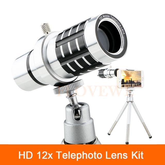Kit de Lentes 12x Lente Zoom Da Câmera do Telescópio Telefone Universal clipes com tripé móvel para smartphone iphone 6 6 s 7 xiaomi
