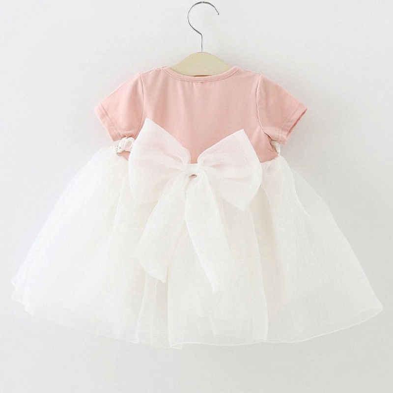 Bambini appena nati Neonate Vestiti Vestito Grande Bowknot Principessa Partito Formale Tulle Abito Estivo Manica Corta Ragazza Sundress