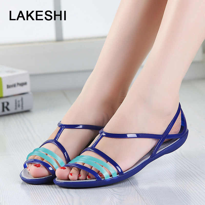 571fc10a374b Fashion Candy Color Women Sandals Jelly Shoes Summer Flat Sandals Mixed  Colors Ladies Sandals 2019 Women