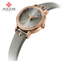 Geneva Quartz Watch Women JULIUS Relogio Feminino Woman Erkek Kol Saati Korea Design Rhinestone Shine Thin Leather Clock Gift