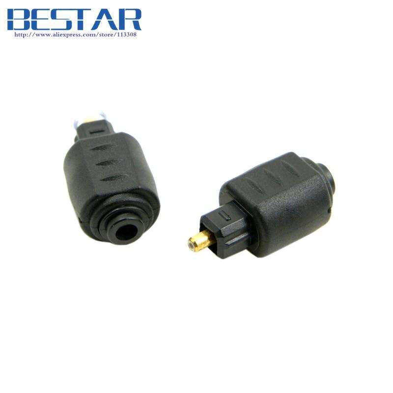 a54b7776c54cb4 (100 pièces lot) de fiber Optique Toslink Mâle à Mini 3.5mm Toslink Femelle  Audio Adaptateur Convertisseur