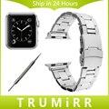 Correa de Acero inoxidable con Adaptador + Herramienta para Apple iWatch Acoplamiento de la Venda de reloj 38mm 42mm Hebilla de Seguridad Correa Correa de Muñeca pulsera