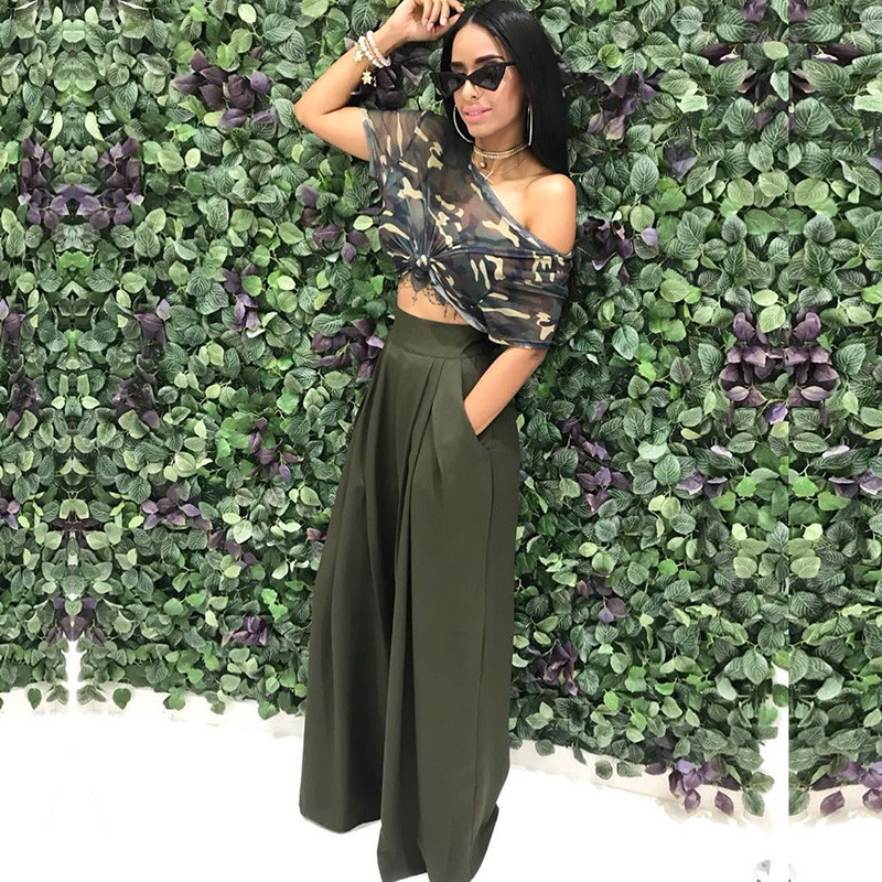 3d289c0f38e594 Detail Feedback Questions about Women Club 2 Piece Sets 2018 Sexy Ruched  Camo Short T shirt Top and Palazzo Pants with Pocket Loose Casual Matching  Sets ...