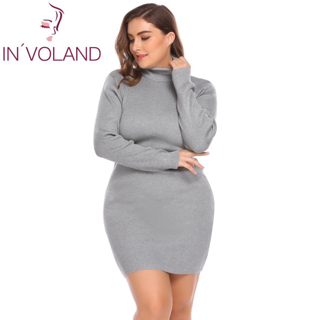 INVOLAND Womens Dress Autumn Big Size XL-4XL Turtleneck Long Sleeve Solid Bodycon Pullover Sweater Large Dresses Plus Size