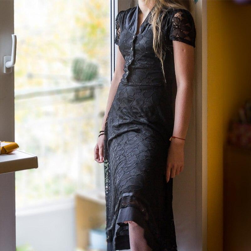 f62d422a4c7 Sisjuly 1950 s V ausschnitt Sommer Knielangen Kleider Sexy Schwarz Vintage  Kleid 2017 Spitze Button Retro Reißverschluss Kleid Frühjahr Sonne kleider  in ...