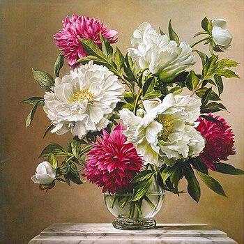 3D Diy Diamond Painting Flower Vase Full Mosaic Rhinestones Square Drill Diamond Cross Stitch Needlework Home Decorative Gifts