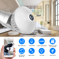 1080P 200W Bulb IP Camera 360°Panoramic WiFi Wireless Camera Support Night Vision Detection Pet Baby Camera 2 Way Talk Motion