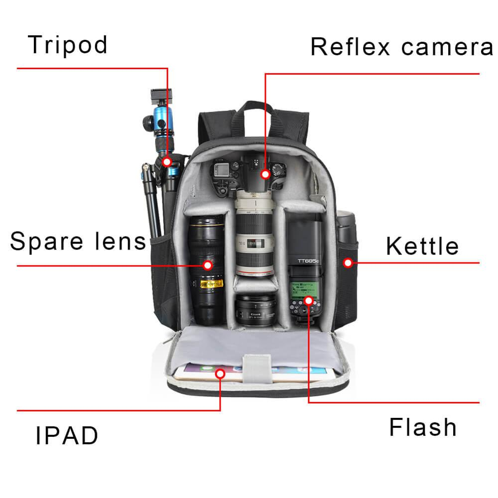 Image 2 - CADeN Multi functional Camera Backpack Video Digital DSLR Bag Waterproof Outdoor Camera Photo Bag Case for Nikon/ Canon DSLR-in Camera/Video Bags from Consumer Electronics